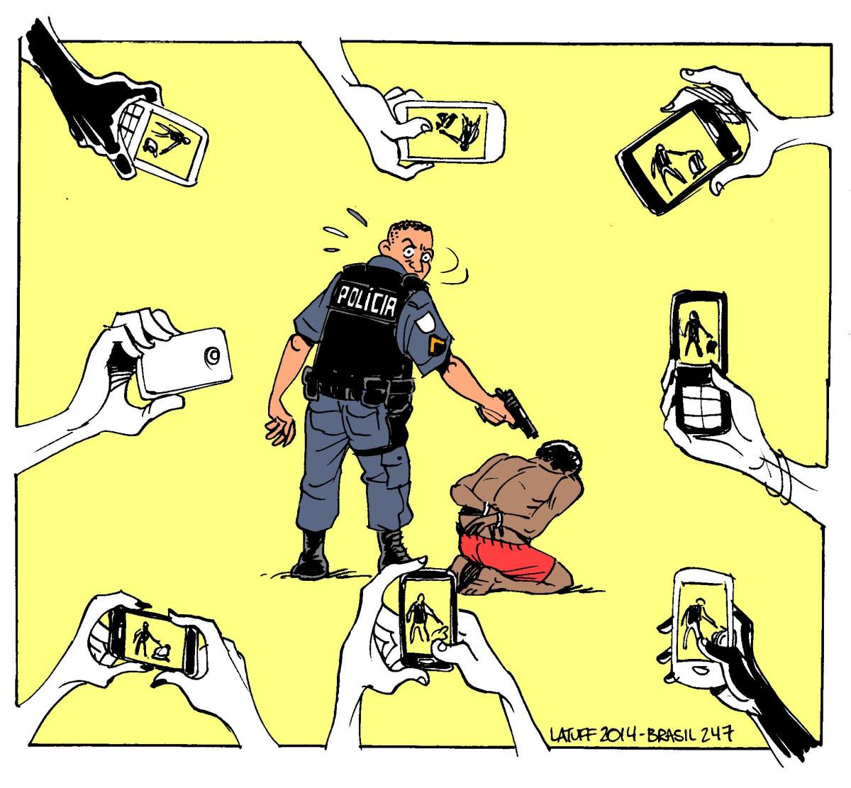 Charge do Latuff - Violência Policial e tecnologia
