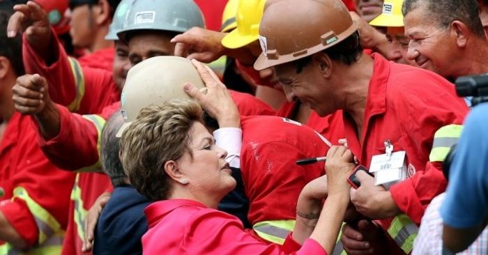 Dilma com trabalhadores