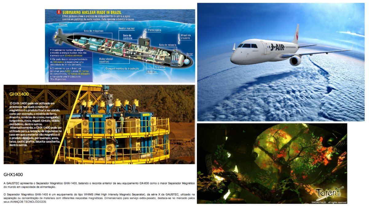 Satélites, foguetes, aviões, submarinos nucleares, Games, invenções com alta tecnologia Brasileira