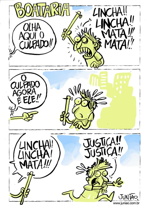 Charge do Junião sobre linchamentos