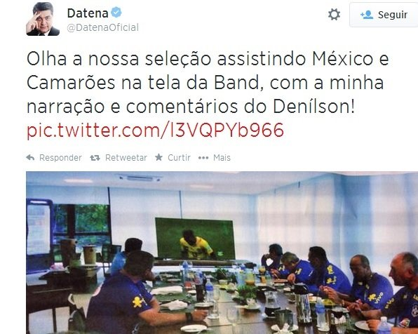 Twitter do Datena sobre a Copa