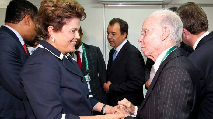 Técnico Zagallo e Presidenta Dilma Rousseff