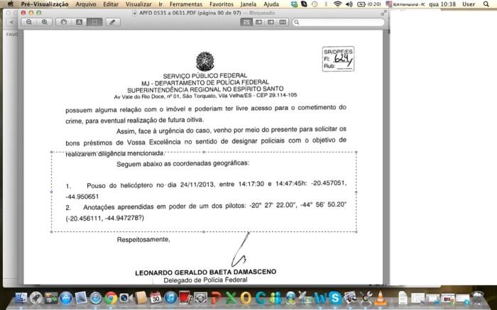Detalhe do inquérito da PF, com o local de parada do helicóptero em Sabarazinho