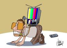 Charge sobre manipulação midiática