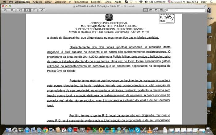 Trecho do inquérito descartando a investigação no local do abastecimento em Sabarazinho
